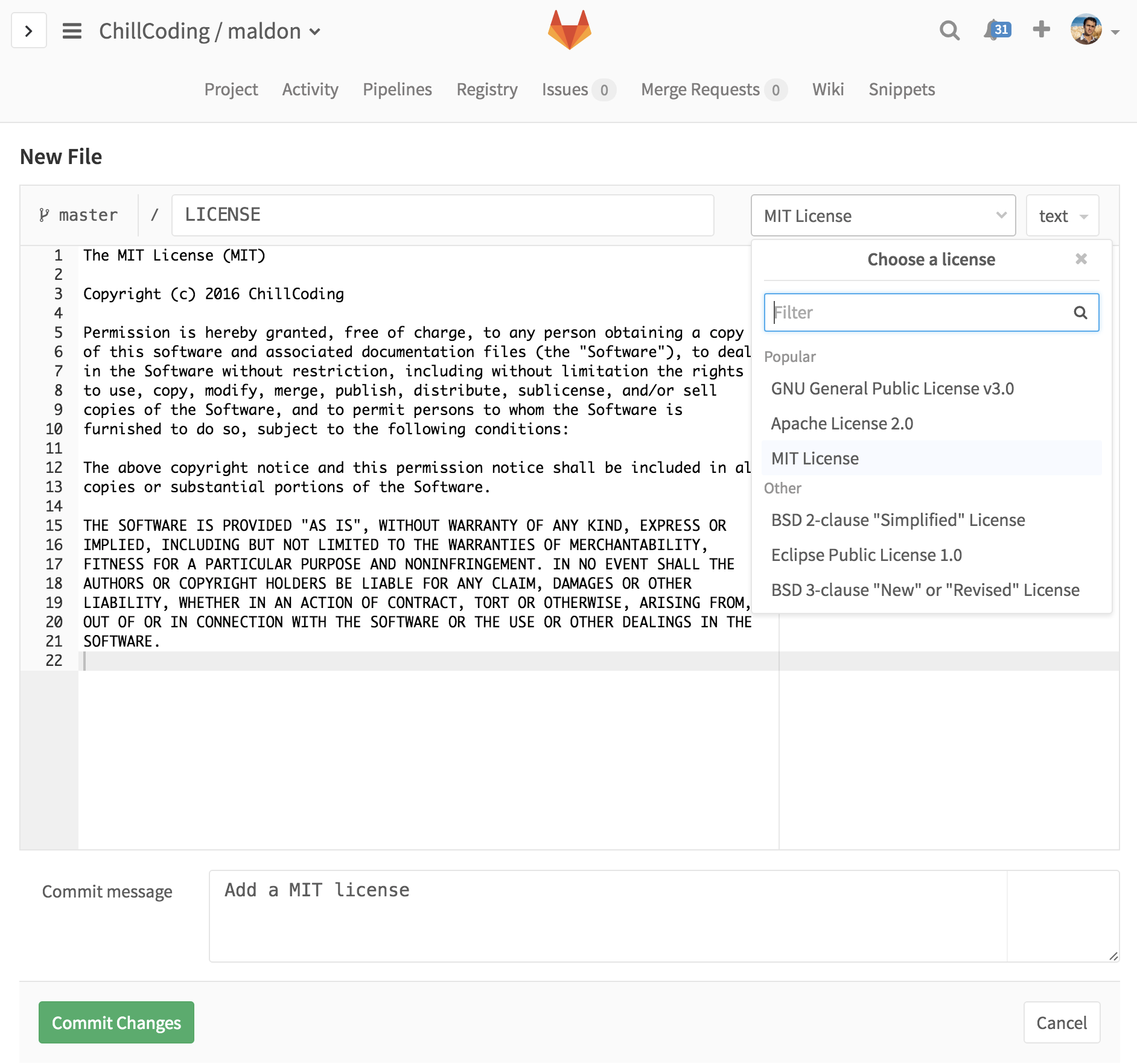 Add a MIT license on GitLab