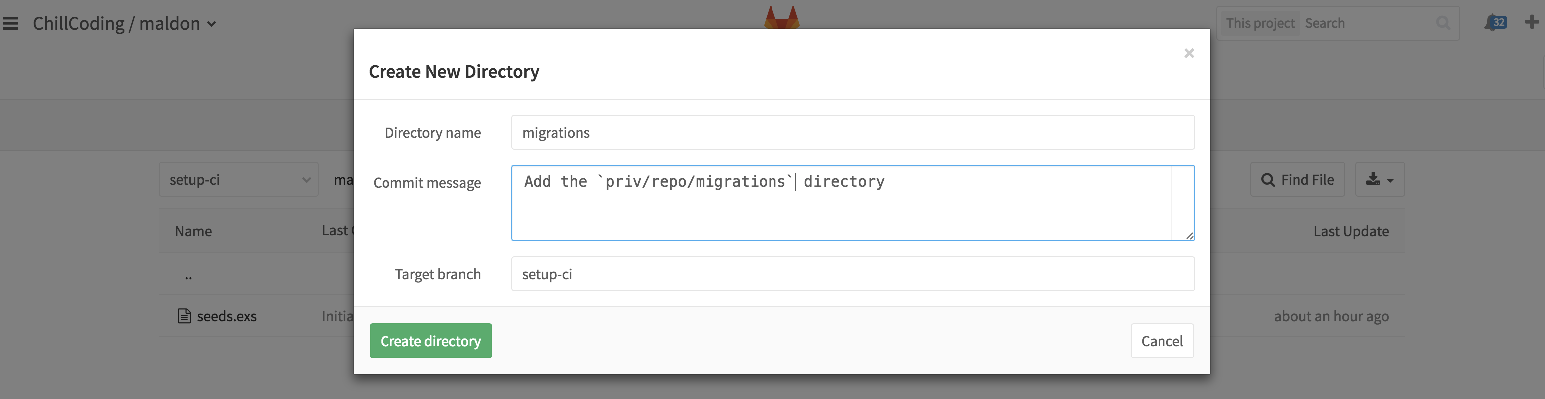 Create a new directory on GitLab